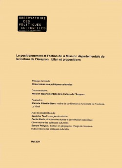 Le positionnement et l'action de la Mission départementale de la Culture de l'Aveyron : bilan et propositions